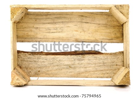 empty wooden box standing on it's side on a white background