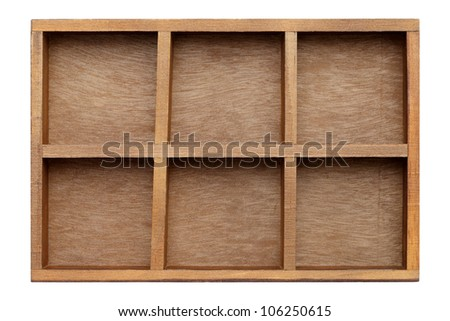 Empty wooden box try isolated on white background - stock photo