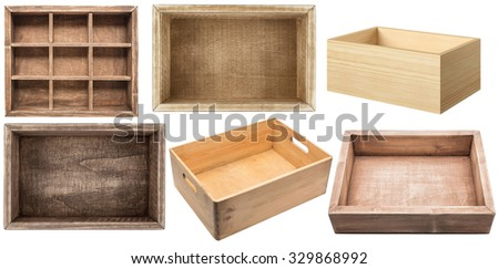 empty wooden boxes isolated on...