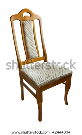Empty wooden chair isolated on white