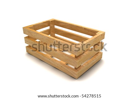 Empty wooden crate in 3d isolated on white background - stock photo