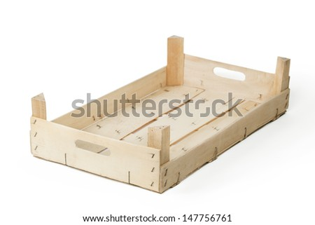 Empty wooden crate isolated on white background.
