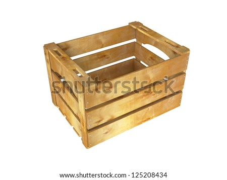 Empty wooden crate on white background. 3D image