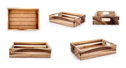 empty wooden crate set isolated on white