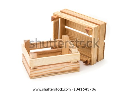 Empty wooden crates on a white background. #1041643786