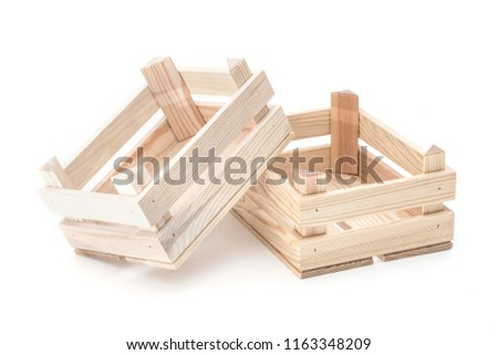 Empty wooden crates on a white background.  #1163348209