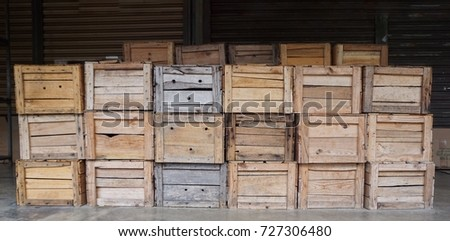 Empty wooden crates or boxes for fruits and vegetables at the market in PERAK, MALAYSIA. #727306480