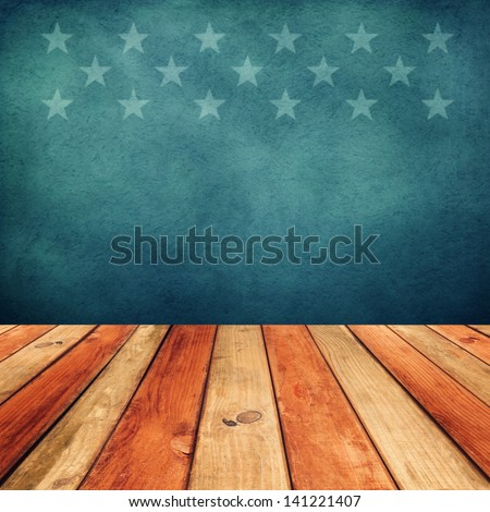 Empty wooden deck table over USA flag background. Independence day, 4th of July background. Ready for product display montage.