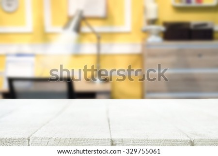 empty wooden desk and office background for presentation product