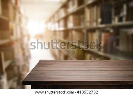 empty wooden desk space...