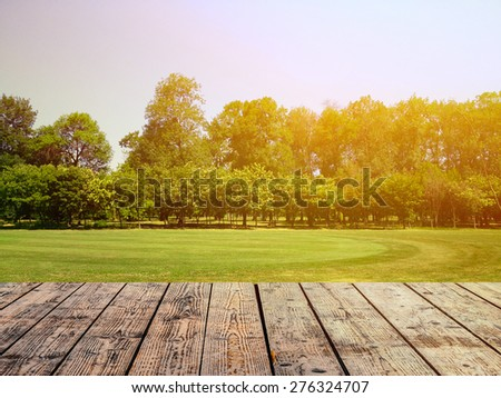 Empty wooden floor against green forest with meadow #276324707