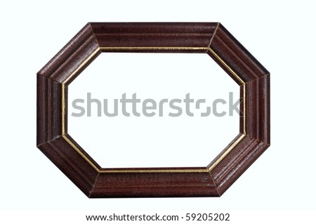 Empty wooden frame on white