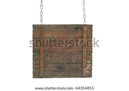 Empty wooden notice board hanging on a chains. Isolated on white background with clipping path