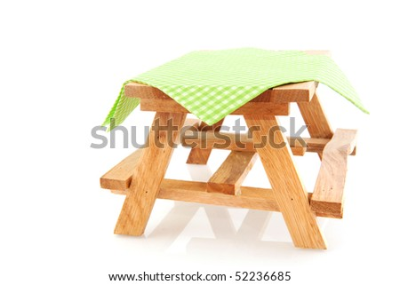 empty wooden picnic table for eating outdoor