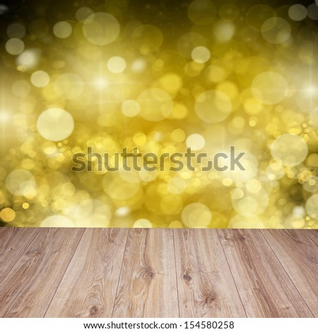 empty wooden planks with golden sparkles  background