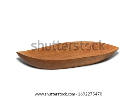 Empty Wooden plates or plates wood for food shaped like leaves with an oval shape.Serving tray isolated on white background with clipping path.