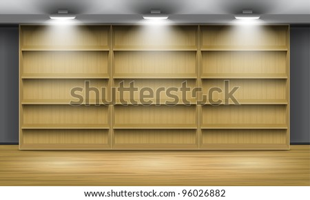 Empty wooden shelves, illuminated by searchlights.