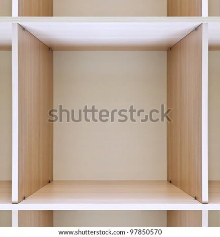 empty wooden shelves in department store