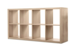 Empty wooden shelving unit for shoes isolated on white