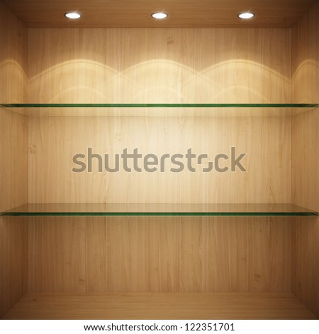 Empty wooden showcase with glass shelves for exhibition - stock photo