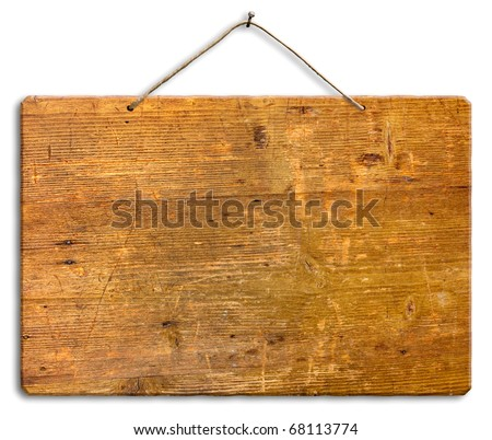 empty wooden signboard hanging with string and nail, blank wood notice board, isolated, clipping path