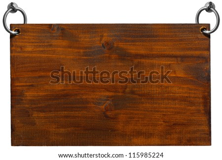 Empty Wooden Signboard with clipping path / Dark Brown Wooden sign hanging on to two steel ring isolated on white
