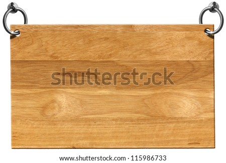 Empty Wooden Signboard with clipping path / Light Brown Wooden sign hanging on to two steel ring isolated on white