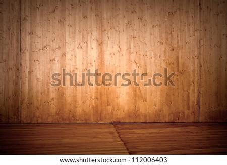 Empty wooden stage interior background