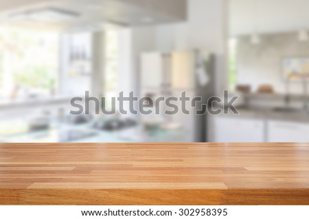 Shutterstock Empty wooden table and blurred kitchen background, product  montage display