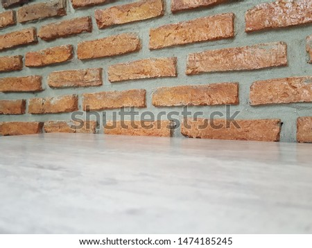 Empty wooden table and Brick  block background with space.Empty for product display. Ready for product display montage. Fair in blurred and de-focus, Soft focus,Select focus #1474185245