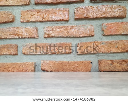 Empty wooden table and Brick  block background with space.Empty for product display. Ready for product display montage. Fair in blurred and de-focus, Soft focus,Select focus #1474186982