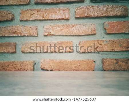 Empty wooden table and Brick  block background with space.Empty for product display. Ready for product display montage. Fair in blurred and de-focus, Soft focus,Select focus #1477525637