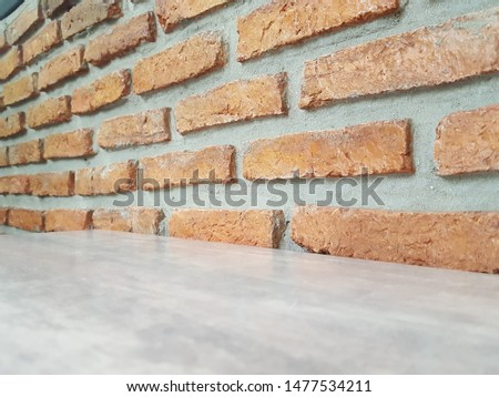 Empty wooden table and Brick  block background with space.Empty for product display. Ready for product display montage. Fair in blurred and de-focus, Soft focus,Select focus #1477534211