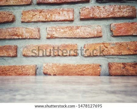 Empty wooden table and Brick  block background with space.Empty for product display. Ready for product display montage. Fair in blurred and de-focus, Soft focus,Select focus #1478127695