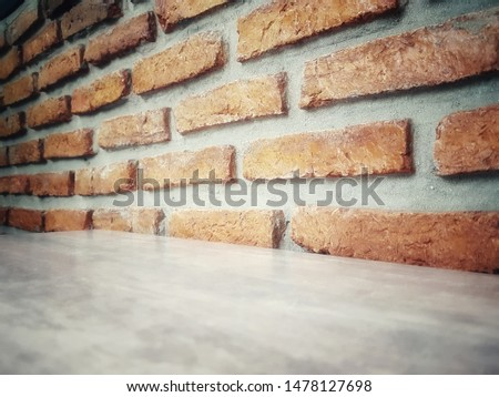 Empty wooden table and Brick  block background with space.Empty for product display. Ready for product display montage. Fair in blurred and de-focus, Soft focus,Select focus #1478127698