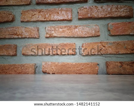 Empty wooden table and Brick  block background with space.Empty for product display. Ready for product display montage. Fair in blurred and de-focus, Soft focus,Select focus #1482141152