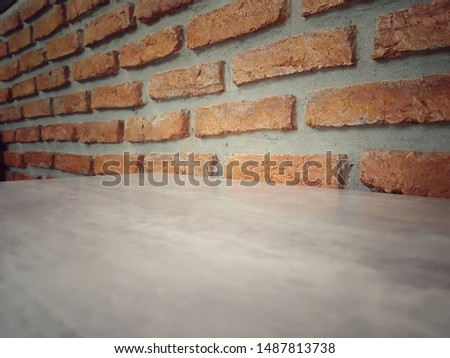 Empty wooden table and Brick  block background with space.Empty for product display. Ready for product display montage. Fair in blurred and de-focus, Soft focus,Select focus #1487813738