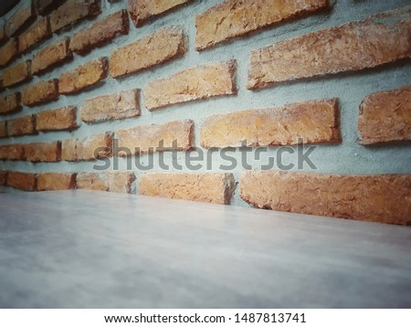Empty wooden table and Brick  block background with space.Empty for product display. Ready for product display montage. Fair in blurred and de-focus, Soft focus,Select focus #1487813741