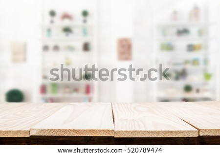 Empty wooden table and living room interior decoration background, product montage display.