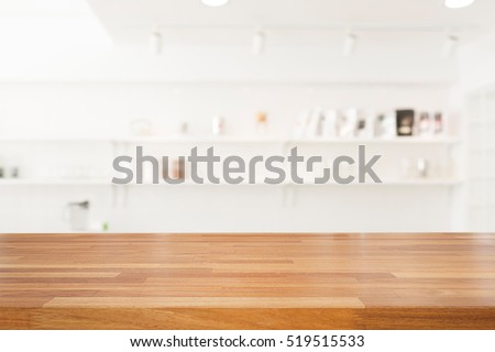 Empty wooden table and modern kitchen background with shelf, Ready for product montage