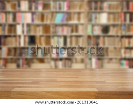 Empty wooden table and modern library background, product display