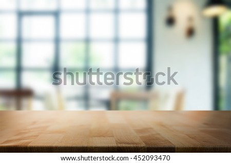 Empty wooden table and room interior decoration background, product montage display,window background. #452093470