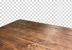 Empty wooden table corner from top or high angle on isolated background including clipping path