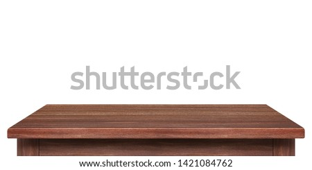 Empty wooden table isolated on white background, of free space for your copy and branding. Use as products display montage. Vintage style concept. #1421084762