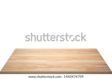 Empty wooden table isolated on white background, of free space for your copy and branding. Use as products display montage. - Image #1460476709