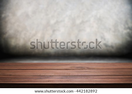 Empty wooden table space polished concrete surface background. For product display presentation. Stock foto ©