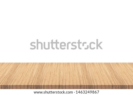 Empty wooden table top isolated on white background - can be used for display or montage your products.can be used for display or montage your products. #1463249867