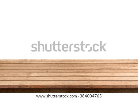 empty wooden table top isolated on white background, used for display or montage your products #384004765