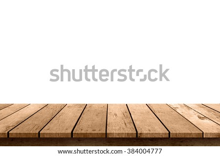 empty wooden table top isolated on white background, used for display or montage your products