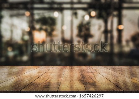 Empty wooden table top with lights bokeh on blur restaurant background, Bokeh, restaurant, light effect bokeh, background bokeh, Top table